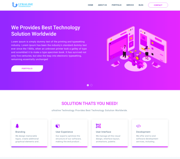 Ultraline IT Business Template | Free Website Template